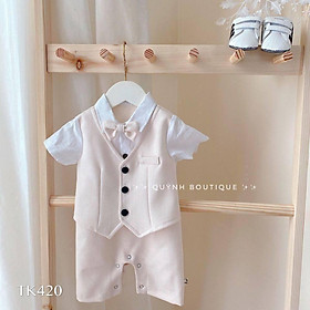 quần áo trẻ em QUỲNH BOUTIQUE bộ body gile công tử cho bé yêu