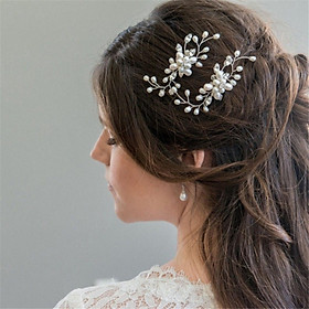 Trâm cài tóc cô dâu hình bông hoa đính hạt ngọc sang trọng, tinh tế, kẹp tóc gắn đá đẹp mắt dự tiệc cưới, party