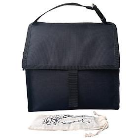 Túi Đựng Hộp Cơm Giữ Nhiệt Văn Phòng Màu Đen Có Dây Khóa Kéo Có Thể Gấp Gọn Tặng Túi Muỗng Nĩa (Lunch Bags, Box)
