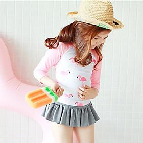 Bộ đồ bơi 2 mảnh dài tay hồng bé gái, chất bơi lyrca Hàn đẹp, kèm mũ   BT10