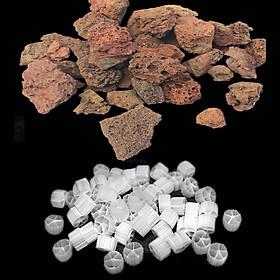 Combo Đá Nham Thạch (1kg) + Hạt Kaldnes vật liệu lọc nước hồ cá, bể cá cảnh (100gr)