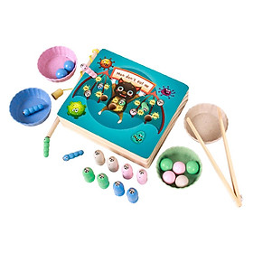 Magnetic Wooden Fishing Game Toy For Toddlers Alphabet Fish Catching