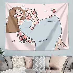 Thảm Treo Tường Tranh Vải Thảm Tapestry Chủ Đề Thiếu Nữ