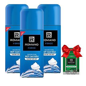 Combo 3 Chai Bọt cạo râu Romano Force (175ml*3)+Tặng kèm nước hoa Bỏ túi Romano 18ml