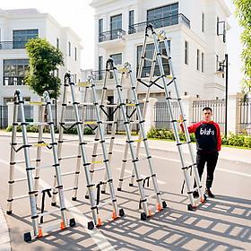Thang Nhôm Rút cao 3 mét 2 cao cấp hàn quốc tiện lợi nhỏ gọn thang công trình gia đình chất lượng cao phù hợp nhiều loại công việc có chốt cao su an toàn nhôm T6030 đạt tiêu chuẩn châu âu