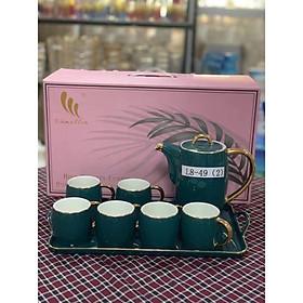 Bộ ấm chén kèm khay sứ pha trà cà phê màu xanh cổ vịt