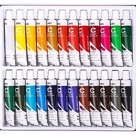 Màu nước Acrylic dạng tuýp 12ml Deli  5/12/24 màu-Tặng kèm pallete pha màu