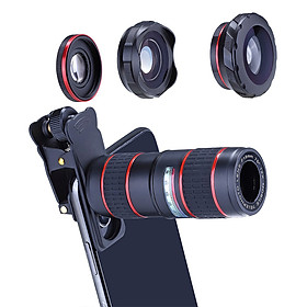 Phone Camera Zoom Lens Kit for iOS Android Smartphones, 5 in 1 HD 180° Fisheye Lens, 0.36X Wide Angle Lens, 15X Macro Lens and 12X Telephoto Lens Camera Lens for Tablet PC Specification: Five-in-one suit