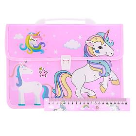 Combo Cặp Học Sinh 2 Ngăn Và Thước Nhựa - Hình Unicorn