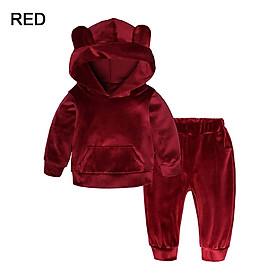Set Áo Hoodie Kiểu Chú Gấu Và Quần Bằng Cotton Ấm Áp Cho Trẻ Em