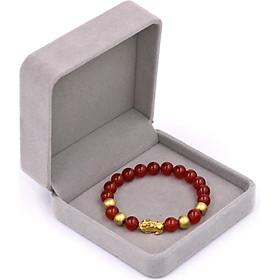 Chuỗi đeo tay mã não đỏ 8 ly - cẩn Tỳ Hưu inox vàng VMNOTHVB8 + hộp nhung - hợp mệnh Hỏa, mệnh Thổ
