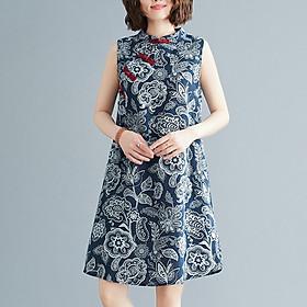 Đầm suông sát nách cổ tầu khuy tết họa tiết ArcticHunter, thời trang trung niên 2021
