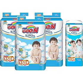 Combo 3 Gói Tã Dán Goo.n Premium Cực Đại L50 (50 Miếng) - Tặng 1 Tã Quần Đại L24 (24 Miếng)