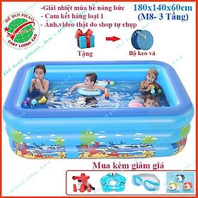 Bể bơi phao cho bé kích 1m8  và 2m1 - 3 Tầng, bể bơi bơm hơi có đáy chống trơn