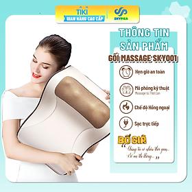 Đệm Gối massage kiêm tựa lưng đa năng, 20 bi, gối massage hồng ngoại phiên bản nâng cấp, massage vai, cổ, gáy, cột sống, chất liệu da pu dễ dàng vệ sinh, sạc pin và có thể cắm trực tiếp