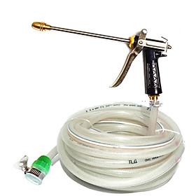 Bộ dây và vòi xịt đầu đồng tăng áp lực nước gấp 3 lần loại 20m dây trắng để tưới cây dọn dọn nhà cửa,nhà vệ sinh,vòi rửa xe, vòi xịt tăng áp,vòi tưới cây  (cút đồng- dây trắng)318710497498
