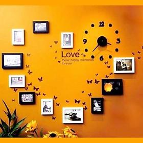 Bộ khung ảnh trái tim, đồng hồ, decan