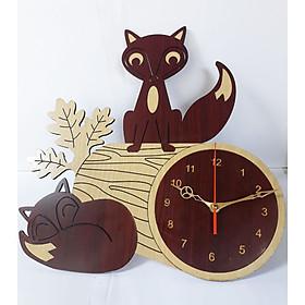 đồng hồ treo tường hình con cáo, Tặng pin đồng hồ, đồng hồ xinh xắn hình hai con cáo xinh xắn giúp trang trí căn phòng thêm mới lạ