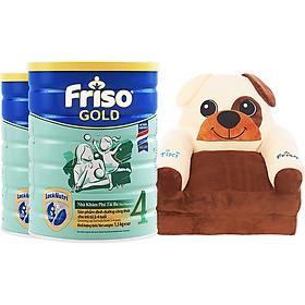 Bộ 2 Lon Sữa Bột Friso Gold 4 Cho Trẻ Từ 2-4 Tuổi 1.5kg + Tặng Giường Sofa Cún Con