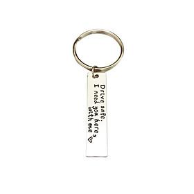 Car Keychain Stainless Steel Key Chain Gift For Boyfriend Girlfriend Drive Safe Keyring