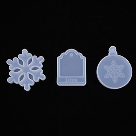3 Pieces Silicone Christmas Theme Pendant Resin Molds Snowflake Love Tag