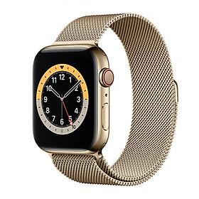 Đồng Hồ Thông Minh Apple Watch Series 6 LTE GPS + Cellular Stainless Steel Case With Milanese Loop (Viền Thép & Dây Thép) - Hàng Chính Hãng VN/A