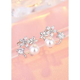 Bông tai nữ ngọc trai mix hoa đính đá siêu xinh