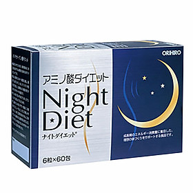 Viên uống Night Diet Orihiro Nhật Bản giúp giảm cân ban đêm, hỗ trợ làm đẹp da, ngủ ngon, 60 gói x 6 viên/hộp, trong 1 tháng, HÀNG CHÍNH HÃNG