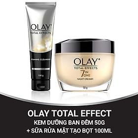 Combo chăm sóc chống lão hóa sớm Kem dưỡng đêm và Sữa rửa mặt dạng kem Olay Total Effect