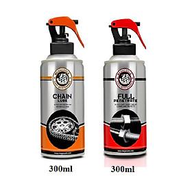 Combo chai bảo dưỡng sên Megacools Chain Lube 300ml và xịt vệ sinh sên Megacools 300ml- chuyên dùng cho xe sên xích trần, sên sích phốt cao su, xe Exciter, Winner, Sirius, mô tô PKL