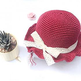 Mũ Nón Trẻ Em Handmade - Mũ Nón Mùa Hè Bé Gái Đỏ đô vành xoắn