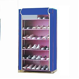 Tủ vải đựng giày, 6 tầng, khung sắt mạ kẽm