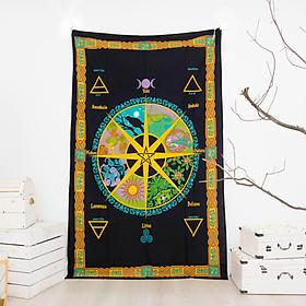 Vải treo tường trang trí hình lịch phù thuỷ wiccan calendar 140cm x 220cm 100% cotton thô Ấn Độ