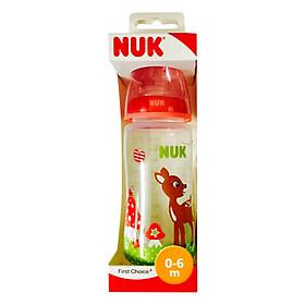 Bình Sữa Nuk Cổ Rộng PP Silicone Baby Gluck 216176 - Đỏ (300ml)