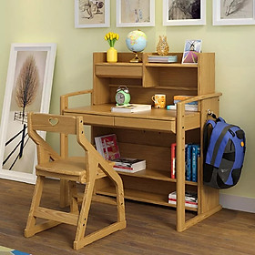 Bộ bàn học trẻ em – bàn học sinh gỗ tự nhiên cực đẹp VBHE01
