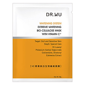 Mặt Nạ Dưỡng Trắng Tối Ưu Dr. Wu Extreme Whitening Bio-Cellulose Mask w/ Vitamin C Bundle x 2