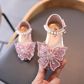 Giày sandal đính kim cương nhân tạo hình bướm phong cách công chúa cho bé gái, đi học đi chơi đều đẹp