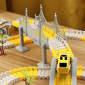 Bộ đồ chơi lắp ghép đường ray Ô tô và Tàu hoả gồm 222 chi tiết hỗ trợ phát triển trí tuệ trẻ em