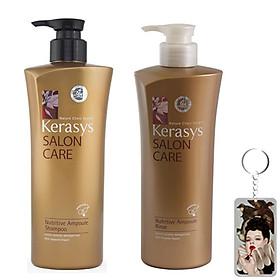 Bộ dầu gội xả Kerasys Salon Care Nutritive - Dành cho tóc hư tổn Hàn Quốc 600ml tặng kèm móc khoá-0