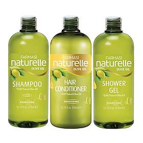 Combo 3 sản phẩm dầu gội - dầu xả - sữa tắm chiết xuất Olive Farmasi 375ml/chai