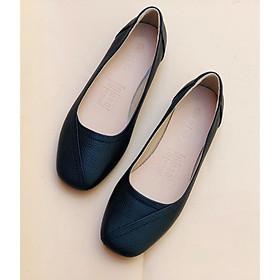 Giày búp bê Doris đế bệt, ️️️️giày da mũi vuông có viền màu bò, thời trang cho nữ DR003.