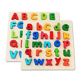Bảng gỗ ghép hình chữ cái, số, hình khối - đồ chơi giao dục cho bé thêm say mê học tập