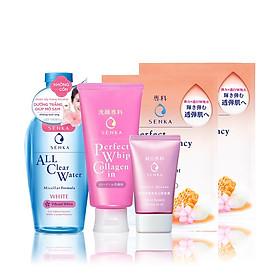 Bộ sản phẩm Senka trắng hồng chuẩn Nhật (SRM Collagen 120g, CN Serum CC 40g, All Clear Water 230ml, Mask 25ml)