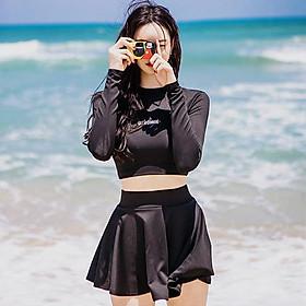 Bikini váy bơi nữ dài tay đen