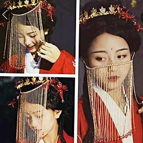 Mạng che mặt tua rua cổ trang phong cách Trung Quốc