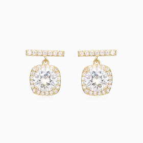 Classic all-match temperament square carat diamond pearl earrings, 925 silver needles, non-fading real gold plated earrings