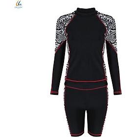 Đồ bơi liền mảnh Lan Hạnh nữ áo tay dài quần shorts Đen họa tiết 21087-DE103