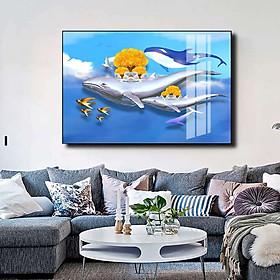 Tranh mica cao cấp Cá voi nghệ thuật - MK059
