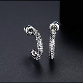 Bông tai bạc nữ khoen tròn khuyên tai bạc thật đường kính 2.5 cm đính đá