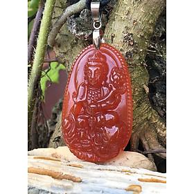Dây chuyền Phong Thủy,  Phật hộ mệnh Tuổi Thìn,  Phổ Hiền Bồ Tát, Đá Mã não đỏ,  To, TEN4_KOM